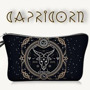 Astrology Capricorn Makeup Bag Black Zodiac